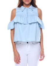 summer-womens - Collar Cold Shoulder Ruffled Denim Blouse
