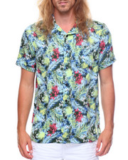 Button-downs - S/S Palm Tree Leaves Printed Woven