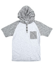 Henleys - S/S Raglan Hooded Henley Tee (8-20)-2108962