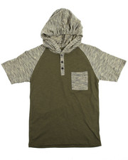Henleys - S/S Raglan Hooded Henley Tee (8-20)-2108971
