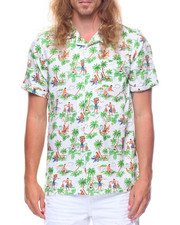 Men - S/S Palm Tree Working Printed Woven