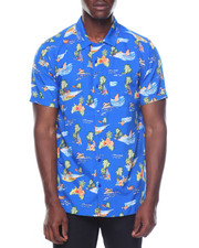 Men - S/S Palm Tree Island Printed Woven