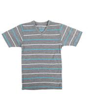 Arcade Styles - S/S 2 Tone Stripe V-Neck Tee (4-7)