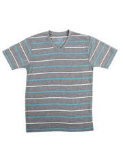 Sizes 8-20 - Big Kids - S/S  2 Tone Stripe V-Neck Tee (8-20)