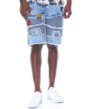 Reason - Acid Wash Patchwork Denim Shorts