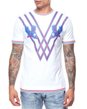 T-Shirts - Eagle Embroidered Ribbed Bottom S/S Tee