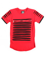 Sizes 8-20 - Big Kids - Zip Trim Razor Slashed Tee (8-20)-2113735