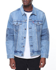 Denim Jackets - Trucker Pieced Denim Jacket