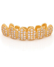 King Ice - 14k Gold Top Cz Studded Teeth Grillz