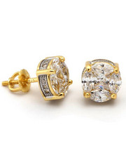 King Ice - 14k Gold 3D Button Earrings