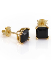 King Ice - .925 Sterling Silver Gold Black Cz Princess Studs
