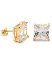 King Ice - 925 Sterling Silver Gold Clear Princess Studs