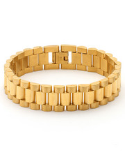 King Ice - 15mm Stainless Steel Gold Link Bracelet
