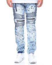 Men - Painted Moto Zipper Jeans