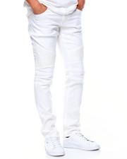 Men - LaGuardia White Moto Jeans