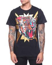 Shirts - S/S Tiger Print Rhinestone Trim Tee