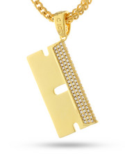 King Ice - 14k Gold Rzr Blade Necklace