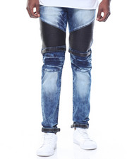 Men - Pu & Patches Motto Denim Jeans