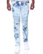 Tie Dye Wash Moto Jeans W/Patches