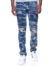 SMOKE RISE - Tie Dye Wash Moto Jeans W/Patches