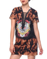 Women - Tie-dye Lace-up Tee Dress