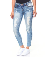 Jeans - Raw Edge Hem Ripped Jean