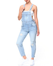 Bottoms - Destructed Denim Overalls