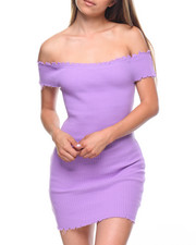 Women - Off Shoulder Raw Edge Ribbed Dress
