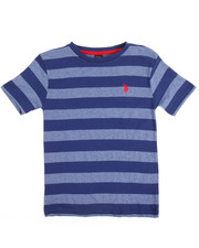 Boys - S/S Yarn Dyed Heathered Striped Crew Neck Tee (8-20)