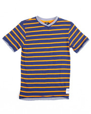Boys - S/S 2 Fer Yarn Dyed V-neck Tee (4-7)