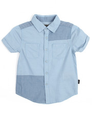 Boys - S/S Chambray Patch Woven (4-7)