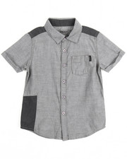 Boys - Chambray Repaired Roll Sleeve Woven (4-7)