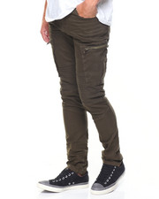 Jeans & Pants - Cargo Pockets/Zippers Moto Twill Pants