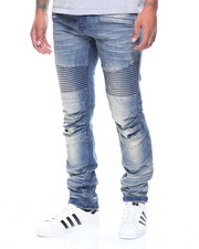 Straight - Pleated Knee Moto Denim Jeans