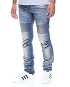 Pleated Knee Moto Denim Jeans