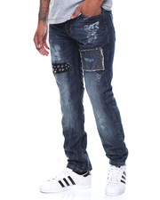 Straight - Studded Patched Jeans