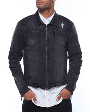 Denim Jackets - Zip Pockets Biker Denim Jacket