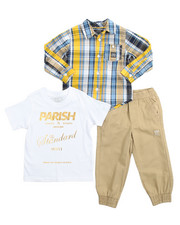 Sets - 3 Piece Woven, Tee, & Jogger Set (2T-4T)