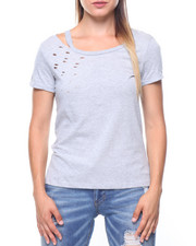 Women - S/S Distressed Rip Collar Tee