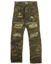 SMOKE RISE - Camo Rip & Repair Zip Trim Moto Jeans (8-20)-2121707