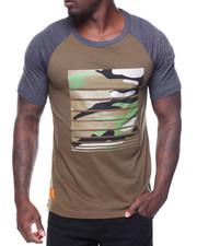 Men - S/S Printed Raglan Tee Side Zips