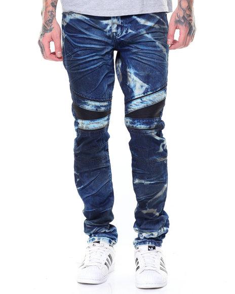 SMOKE RISE - Vegan Leather Trim Moto Jean