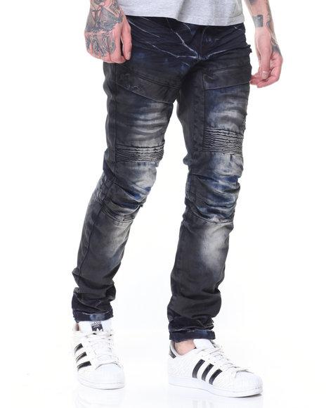 SMOKE RISE - Sandblasted Cargo Biker Jean