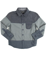 Tops - Striped Chambray Roll Up Woven (4-7)