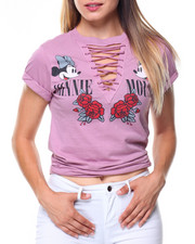 Women - Minnie Mouse Lace-up V-neck Tee