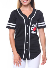 Women - Mickey 28 Front/Back Patch Button Down Baseball Shirt