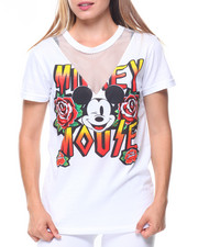 Tops - Mickey Mouse Mesh V-Inset Tee