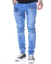 Men - Pleated Knee Colored Denim