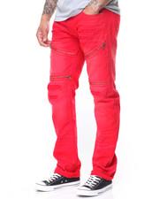 Men - Zip Trim Slim Straight Moto  Ripped Jeans