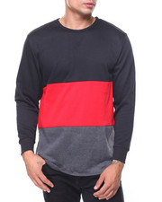 Pullover Sweatshirts - French Terry Color Block Zipper Pullover